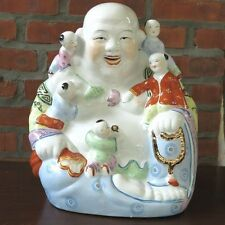 "Porcelain Laughing Happy Buddha w/ 5 Children Chinese Vintage Statue 16""H - New"