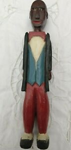AFRICAN AMERICAN CARVED PAINTED MAN FIGURE A P LATIMER FOLK ART SHAW MISSISSIPPI