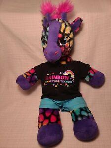"CUTE DRESSED Build A Bear Lisa Frank Rainbow Giraffe Wild Style Plush 18"""