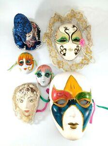 Lot Of 6 Ceramic Porcelain & Bisque Mardi Gras Masks