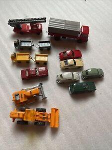 Lot of 12 Wiking HO scale 1:87 Model Cars Trucks Fire truck Luggage Cars