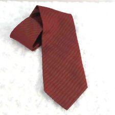 Martin Wong Mens Tie Necktie Red Brown Striped 100% Silk Wide Woven