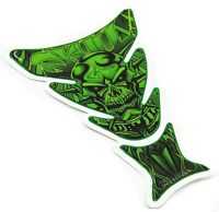 Green Skull 3D Motorcycle Fuel Tank Decal Pad Protector Cover Sticker