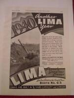 Vintage 1940 Ohio Power Shovel Lima Ad, Advertisement: Draglines and Cranes