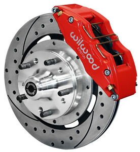 """WILWOOD DISC BRAKE KIT,FRONT,79-87 CHEVY,GMC,BUICK,OLDS,6 PISTON,12"""" DRILLED,RED"""