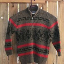 VTG Pendleton Cardigan Sweater Western Aztec Lebowski Zip Dude Gray Black Red XL