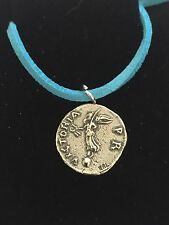 "Denarius Of Galba Coin WC73 Fine English Pewter On a 18"" Blue Cord Necklace"