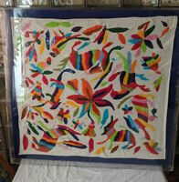 HUGE Vintage Authentic OTOMI Embroidery MEXICAN TAPESTRY- BOHO Folk Art Textile
