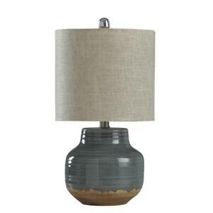 19.5 in. Prova Grey Table Lamp with Beige Hardback Fabric Shade by StyleCraft