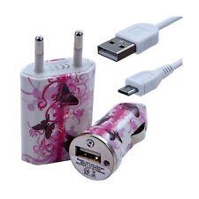 Mini Chargeur 3en1 Auto et Secteur USB avec Câble Data avec Motif CV09 pour Alca