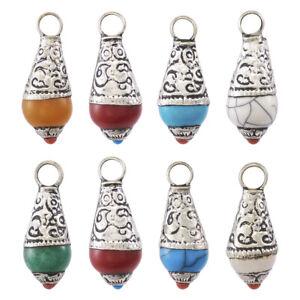 10pcs Tibetan Brass Drop Pendants with Resin Beads Antique Silver Charms 27x11mm