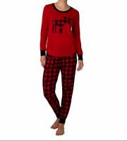 NEW Eddie Bauer Women's 2 piece Red Pajama Set. Moose PJs! VARIETY OF SIZE F41