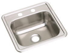 "Dayton Stainless Steel 15"" x 15"" x 5-3/16"", Single Bowl Drop-in Bar Sink - ELKAY"