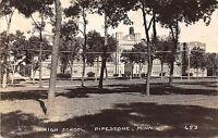 B81/ Pipestone Minnesota Mn Real Photo RPPC Postcard c1930s High School Building