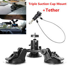 """Triple Low Angle Suction Cup Mount Holder +12"""" Tether for Car Gopro 2 3+4 Camera"""