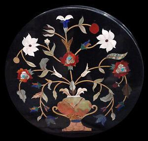 "18"" Marble Center Table Top Semi Precious Stones Inlay Handmade Work"