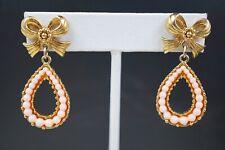 Vintage Avon Faux Pink Pearls Teardrop Dangling Post Earrings Gold tone