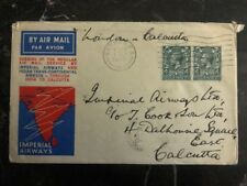 1933 London England First Flight Cover to Calcutta India Imperial Airways Ffc