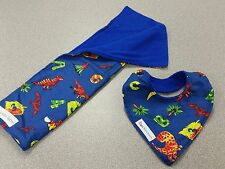 Handmade Dribble Bib & Burp Cloth Set ~ Dinosaur Print
