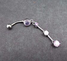 Tanzanite Pink Multi Gem Belly Ring Chain Dangle Jewel Charm Navel Body Jewelry