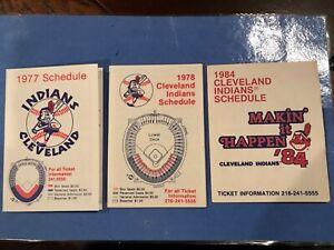 Cleveland Indians pocket schedule lot (3) 77,78,84