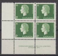 CANADA #402 2¢ Queen Elizabeth II Cameo Issue LL Plate #1 Block MNH