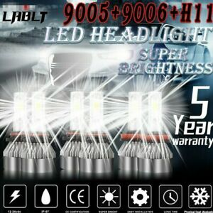 Combo 9005+9006+H11 LED Headlight Hi/Low Beam Bulb 6500K 7000W 98000LM Fog Light