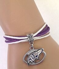 Baltimore Ravens Bracelet Football Charm Multi Cord Style QUALITY FAST SHIP USA