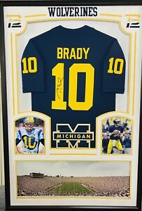 TOM BRADY MICHIGAN WOLVERINES SIGNED FRAMED AUTOGRAPHED FOOTBALL JERSEY PATRIOTS