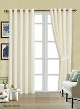 Door Window Curtain Pair Ready Made Fully Lined Eyelet Ring Top Faux Silk Tiebak