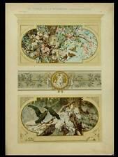 OISEAUX, PRINTEMPS ET HIVER -1901- LITHOGRAPHIE, CARL GEHRTS