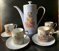 Vtg. Brazilain Dancers Porcelain Teapot Coffee Pot Demitasse Cups REAL S. PAULO