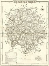 HEREFORDSHIRE. County map. Polling places. Coach roads. DUGDALE 1845 old