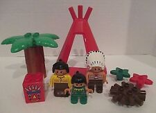 Rare Lego Duplo Indian Family Baby Teepee Native American Minifigures Figures