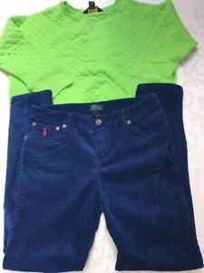 Ralph Lauren 3 piece outfit set corduroy pants +quilted top + hat boys 16 L $138