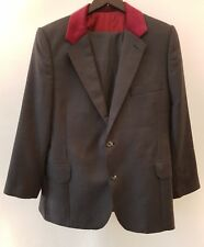 Mod Style Pinstripe Suit with Red Velvet Collar Shoulder Pads Size Small 34 S