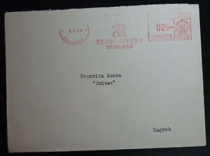 Yugoslavia 1964 Meter Cover - Red Machine Cancel - From Belgrade to Zagreb A11