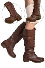 Womens Faux Leather Lace Up Combat Knee High Boots w/ Buckle Straps Black