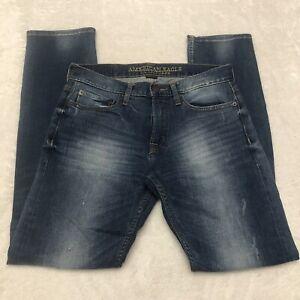 American Eagle Slim Straight jeans mens 28X32 Core Flex stretch Distressed