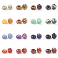 30pcs Natural Stone European Beads Large Hole Rondelle Smooth Loose Charms 14mm
