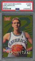 Dirk Nowitzki Rookie Card 1998-99 Fleer Brilliants Gold #109G Mavericks PSA 9