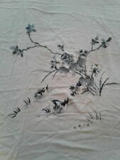 Antique Chinese Silk Embroidered Wedding Sheet Tapestry White Orioles Floral
