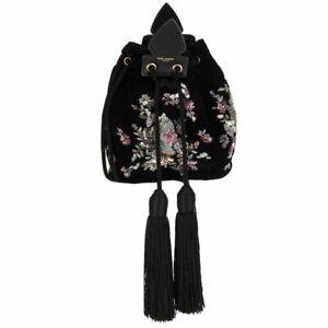 59280 auth SAINT LAURENT black VELVET EMBROIDERED ANJA Bucket Bag