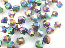 200pcs Colorized Plated Glass Crystal Faceted Bicone Beads 4mm Spacer Findings