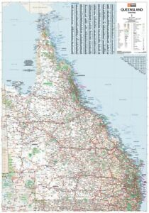 (LAMINATED) QUEENSLAND STATE MAP POSTER (70x100cm) QLD AUSTRALIA WALL CHART NEW