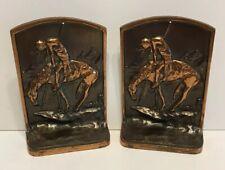"Vintage End of the Trail Scene Bronze ""Bookends"" McClelland Casket Hardware Co."