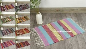 Indian Rag Chindi Throw Woven Handmade Cotton Floor Yoga Mat 2X3 FT Rug Dari