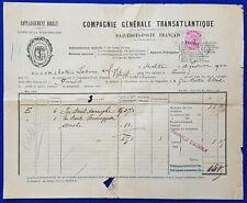 1900 Malta to Tunisia Paquebot Post Document + QV 1d used Revenue