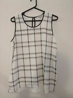 Country Road Women's Top Size XL Cream Black Check Sleeveless Keyhole Back