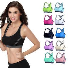 3f7fa5d9f5 Women Yoga Fitness Stretch Workout Tank Top Padded Sports Bra Seamless  Racerback